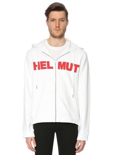 Helmut Lang Baskılı Fermuarlı Kapüşonlu Sweatshirt Beyaz